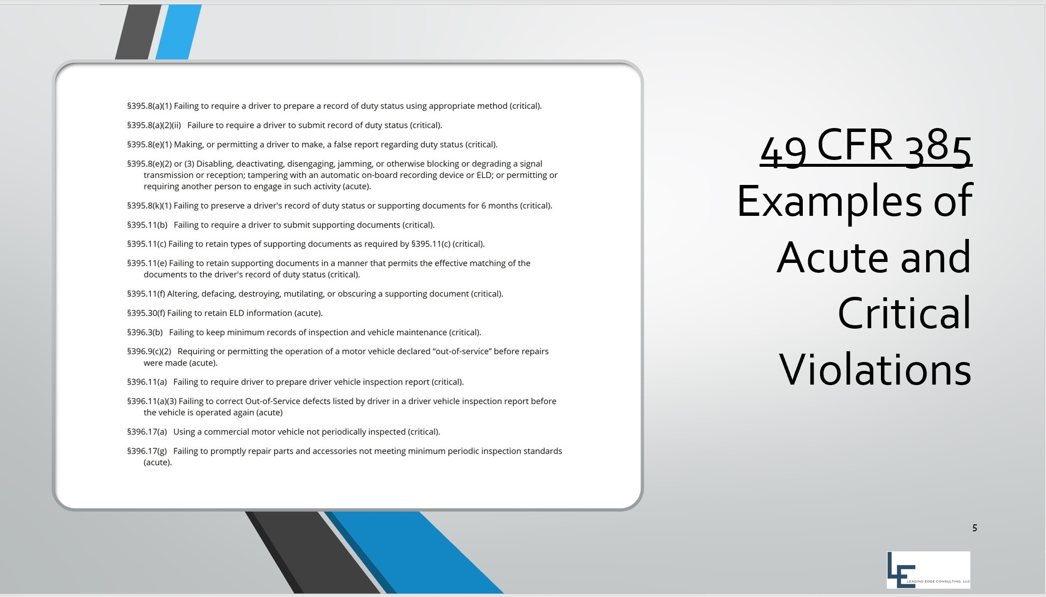49 CFR 385 - Acute and Critical Violations - Example