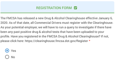 Drivers indicate within A-Suite if they are registered with the Clearinghouse.