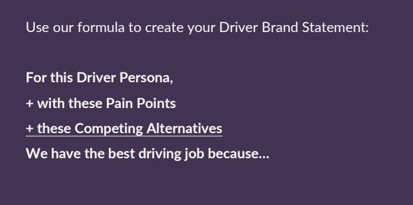 Driver Brand Statement Formula