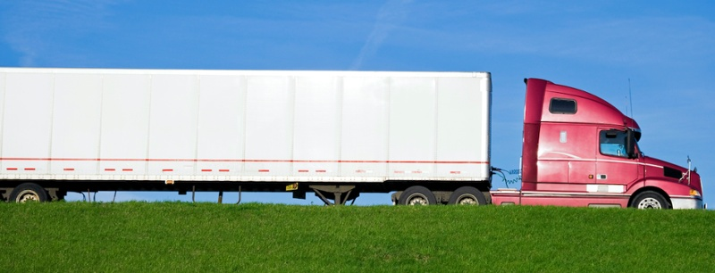 side view of a semi truck